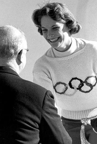 Carol Heiss receives gold for her performance during the 1960 Olympics. Heiss took silver in 1956, won Nationals five straight times, and was world champion from 1957 to 1960.