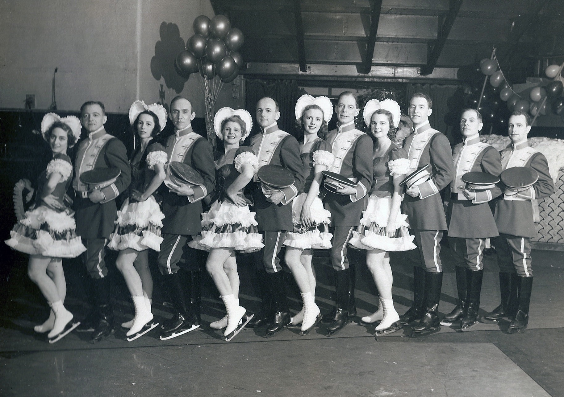 5-time US gold medalist in ice dancing, Harold Hartshorne (5th from right) skated to gold or silver in dance for 8 straight years (with SCNY members Nettie Prantell, Sandy MacDonald and Kathe Mehl). He died aboard Sabena Flight 548 to the 1961 World Championships.