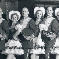 5-time US gold medalist in ice dancing, Harold Hartshorne (5th from right)