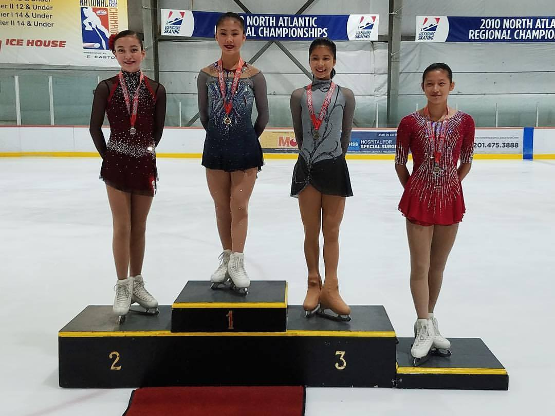 Angie Chen (1st, Ice House NJFSC); Alyssa Bleyl (2nd, SCNY); Mayou Hayashi (3rd, Ice House NJFSC); Chloe Peng (4th, Ice House NJFSC)