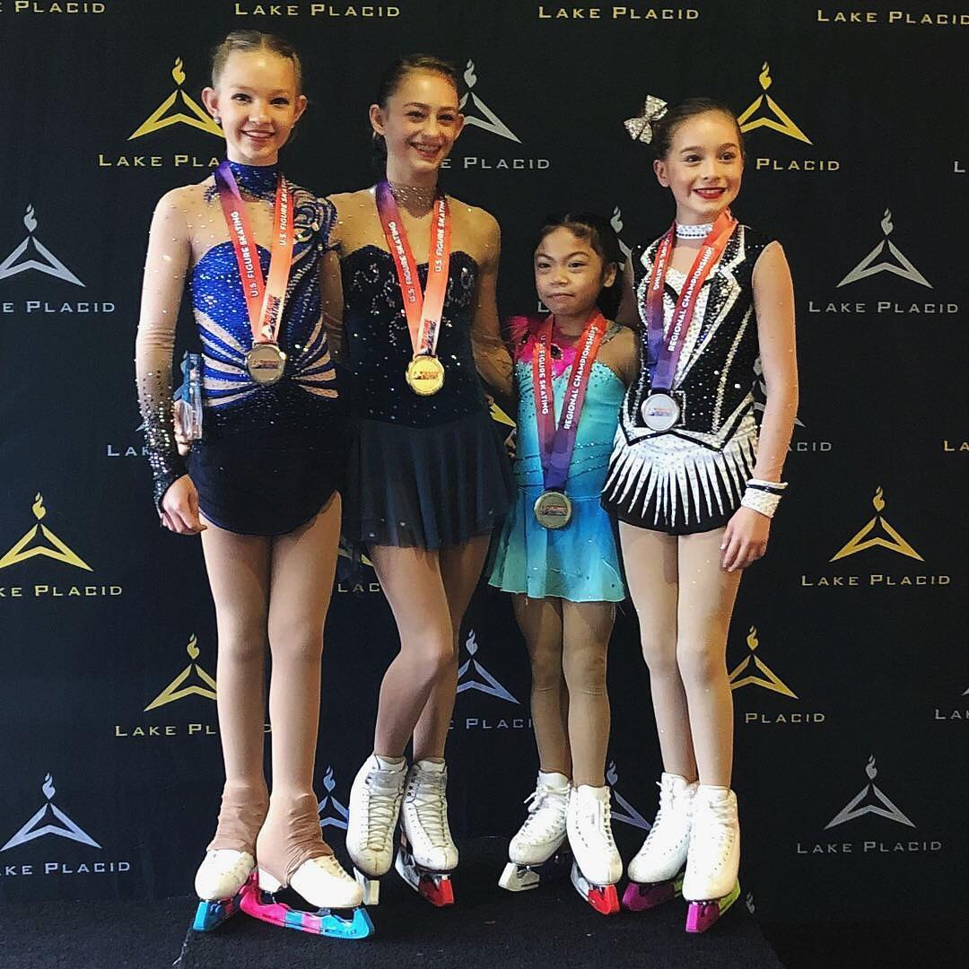 Ava Ziegler (1st, SCNY), Lilly Mills (2nd, SCNY), Gabriella Panaligan (3rd, Ice House NJFSC), Dalila DeLaura (4th, SCNY)